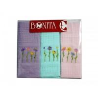 Набор из 3-х вафельных полотенец с вышивкой Цветы